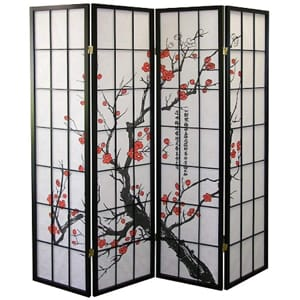 Legacy Decor 4-Panel Blossom Screen Room Divider