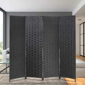 FDW 4 Panel Room Folding Portable Partition Divider Wood Screen Divider for Home Office