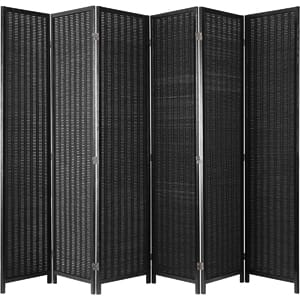 MyGift Decorative Woven Bamboo 6-Panel Room Divider Screen