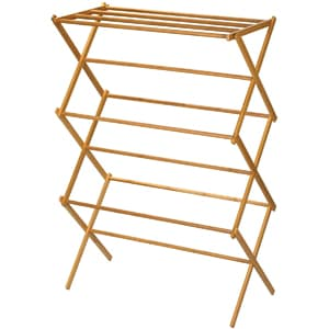 Household Essentials Folding Wooden Clothes Drying Rack