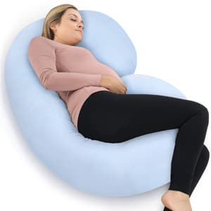 PharMeDoc Full Body Pregnancy Pillow - Maternity & Nursing Support Cushion w/ 100% Cotton Pillow Cover - C Shaped